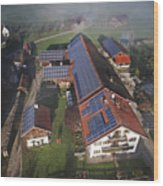 A Farm In Bavaria With Solar Wood Print by Michael Melford