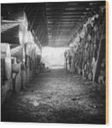 Farmer's Woodpile At Lusscroft Farm In Black And White Wood Print