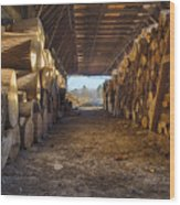 Woodpile At Lusscroft Farm In Color Wood Print
