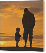 A Father And His Baby Son Watch Wood Print by Jason Edwards