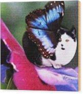 A Feline Fairy In My Garden Wood Print