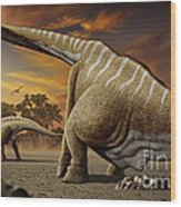 A Female Apatosaurus Laying Her Eggs Wood Print