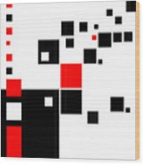 Black And Red Squares Wood Print