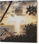 A Fiery Sunset Wood Print