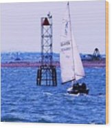 A Fine Day For A Sail Wood Print