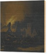 A Fire In A Village At Night Wood Print