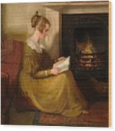 A Fireside Read Wood Print
