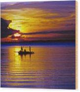A Fisherman's Sunset  Wood Print