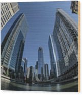 A Fisheye View Of The Chicago Skyline As You Appraoch Wolf Point Wood Print
