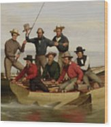 A Fishing Party Off Long Island Metal Wood Print