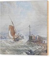 A Fishing Smack Entering Harbour Wood Print