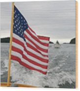 A Flag Waves On The Stern Of A Maine Wood Print