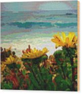 A Flowery View Of The Surf Watercolor Wood Print