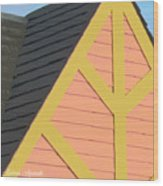 A-frame In Pastel Pink And Harvest Gold Yellow Wood Print