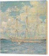 A French Barque In Falmouth Bay Wood Print