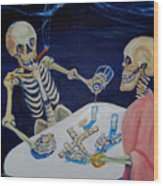 A Friendly Game Of Bones Wood Print