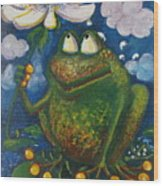 Frog In The Rain Wood Print