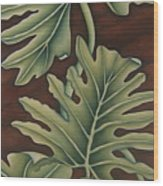 A Frog On A Philodendron Wood Print
