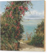 A Garden By The Sea  Wood Print