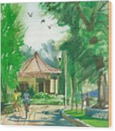 A Pavement And A Shade In A Garden Wood Print
