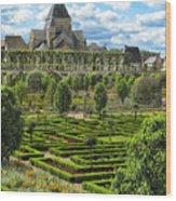 A Garden View At Chateau De Villandry Wood Print