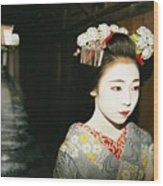 A Geisha In Traditional Costume Walks Wood Print by Paul Chesley