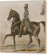 A Gentleman On Horseback With A Subsidiary Study Of The Horse's Head Wood Print