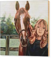 Wide Eyed Girl And Her Horse Wood Print