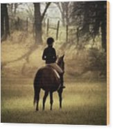 A Girl And Her Horse Wood Print
