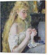 A Girl Crocheting Wood Print by Pierre Auguste Renoir