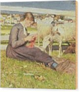 A Girl Knitting Wood Print