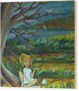 A Girl Near The Pond Wood Print