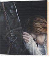 A Girl Who Loves Horses Wood Print