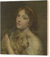 A Girl With A Lamb Wood Print