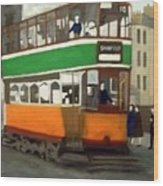 A Glasgow Tram With Figures And Tenement Wood Print
