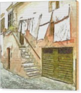 A Glimpse Of A House With Hanging Clothes Wood Print