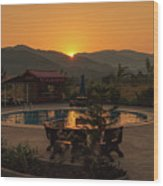 A Golden Sunset In Loas Wood Print