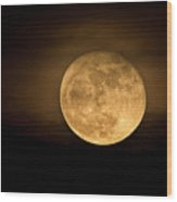 A Golden Super Moon On The Rise  Wood Print