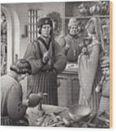 A Goldsmith's Shop In 15th Century Italy Wood Print