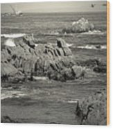 A Good Day Fishing On Monterey Bay In Black And White Wood Print