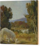 A Great Pyrenees With A Lamb Wood Print