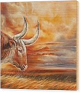 A Great Texas Longhorn Steer Inspired The Bevo Song Wood Print