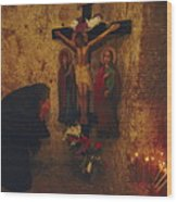 A Greek Pilgrim Prays In The Grotto Wood Print by Annie Griffiths