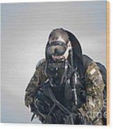 A Green Beret Emerges Onto Okaloosa Wood Print
