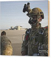 A Green Beret Waits To Have His Gear Wood Print