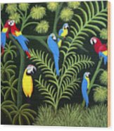 A Group Of Macaws Wood Print