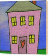 A Happy Home Wood Print