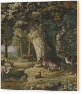 A Herd Of Stag And A Fawn In A Woodland Landscape Wood Print