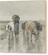 A Herdess With Cows On A Country Road In The Rain Wood Print