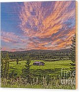 A High Dynamic Range Photo Of A Sunset Wood Print